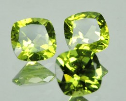 4.15 cts Magnificient Top Sparkling Intense cushion Green Peridot 3 pcs