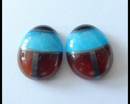 68.5Ct Obsidian,Pyrite,Blue Jasper,Red Agate Intarsia Gemstone Pair(C0073)
