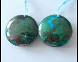 61.5ct Natural Chrysocolla,Obsidian Inatrsia Gemstone Earring Beads