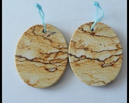 51ct Natural Picture Jasper Oval Gemstone Earrin Beads