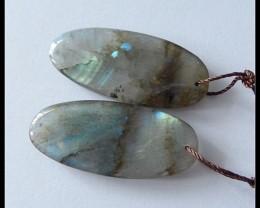 52ct Natural Labradorite Gemstone Oval Earring Beads