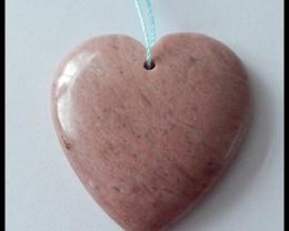 92Ct Natural Pink Jasper Heart Gemstone Pendant Bead,LOVE Stone