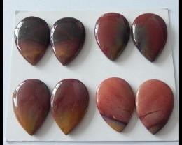 P0477 - 75.65ct 4 Pair Natural Mookaite Jasper Cabochons Pair