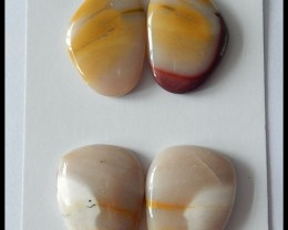 2 Pair Natural Mookaite Jasper Cabochons Pair,65ct