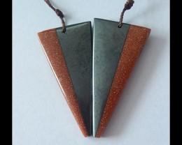 81.5ct Natural Pyrite,Goldstone Intarsia Earring Beads(B180499)