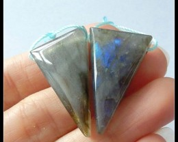 47ct Triangle Labradorite Gemstone Earring Beads Pair(A1884)