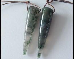 25.25ct Natural Moss Agate Spiker Earring Beads(B180429)