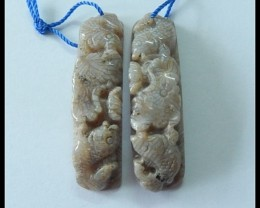 59.85Ct Natural Coral Fossil Flower And Fish Carving Arc Earring Beads