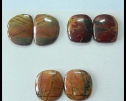 3 Pairs Multi Color Picasso Jaspser Cabochons,111.5ct