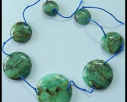 144.5 Ct Natural Chrysocolla Bead Pendant Beads Necklace With Two Holes