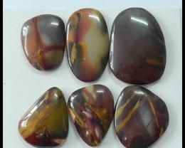 6 PCS Natural Mookaite Jasper Cabochons,240.5ct