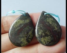 Dragon Bloodstone Earring Beads,42 ct