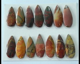 14 PCS Natural Multi Color Picasso Jasper Cabochons,161CT