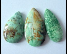 3 PCS Natural Green Turquoise Gemstone Cabochons,72.8 ct