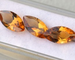 7.35 Carat Matched Trio of Marquise Cut Citrine