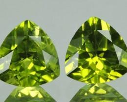 4.05 Cts.Magnificient Top Sparkling Intense Green Peridot 2 pcs
