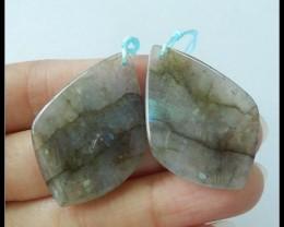 56.5ct Natural Labradorite Gemstone Earring Beads