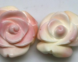 47.65 CTS CONCH SHELL FLOWER DRILLED PARCEL (2PCS) LT-593