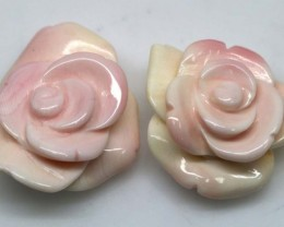 42.40 CTS CONCH SHELL FLOWER DRILLED PARCEL (2PCS) LT-595