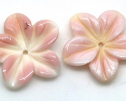 8.60 CTS CONCH SHELL FLOWER DRILLED PARCEL (2PCS) LT-596