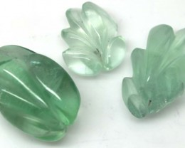 114.85 CTS GREEN FLUORITE 3 CARVINGS LT-617