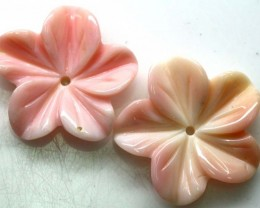 10.40 CTS CONCH SHELL FLOWER DRILLED PARCEL (2PCS) LT-620