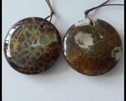 78.5 ct Natural Mushroom Jasper Earring Beads