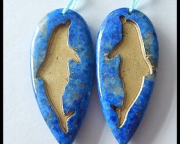 55ct Natural Lapis Lazuli Dolphin Carving Earring Beads