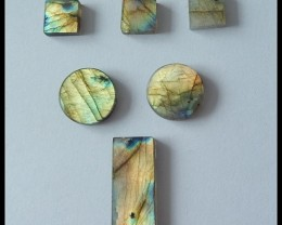 6PCS High Quality Flash Light Labradorite Gemstone Cabochons,59ct