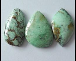 3 PCS Natural Green Turquoise Gemstone Cabochons,82 ct