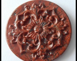 Art Gemstone 87ct  Red Jasper Vintage Flower Cameo