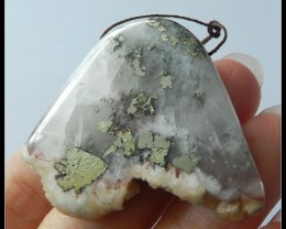 88.5ct Natural Rose Quartz With Pyrite Specimen Pendant Bead