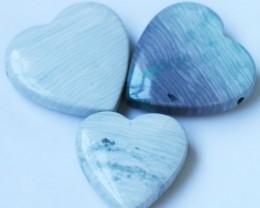 354 Cts Three Heart Shape Jasper Beads   BU1545