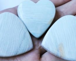 336Cts Three Heart Shape Jasper Beads   BU1546