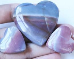213 Cts Three Heart Shape Jasper Beads   BU1559
