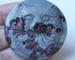 133 Cts Cute cat carved Jasper Beads   BU1559