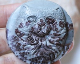153 Cts Cute cat carved Jasper Beads   BU1571