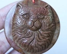 108 Cts Cute cat carved Jasper Beads   BU1575