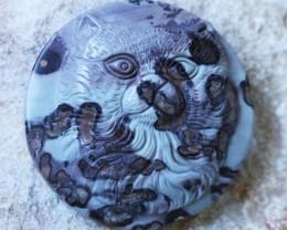 166 Cts Cute cat carved Jasper Beads   BU1579
