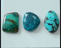 3 PCS Natural Turquoise Precious Gemstone Cabochons,38ct
