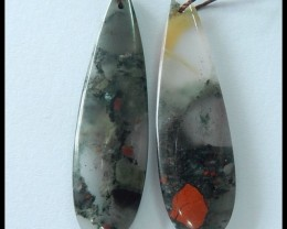30.5Ct Natural African Bloodstone Earring Bead