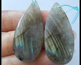 66.5CT Natural Labradorite Gemstone Earring Beads