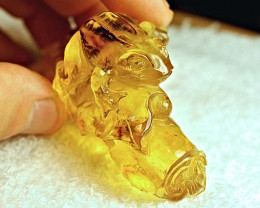 173.8 Carat Natural Baltic Amber Frog Carving
