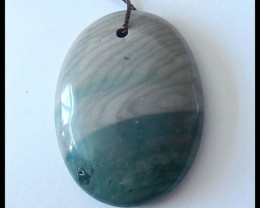 74.8Ct Natural Wave Jasper Oval Pendant Bead