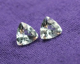 AQUAMARINE GEM STONE TRILLION PAIR