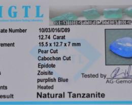 CERTIFIED ~12 ct Tanzanite gemstone