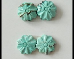 2 Pair Turquoise Flower Carved Cabochons,11ct