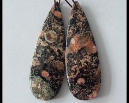 39ct Natural Snow Obsidian Drop Earring Beads