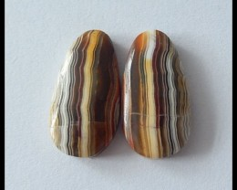 16.5Ct Natural Lace Agate Gemstone Cabochon Pair