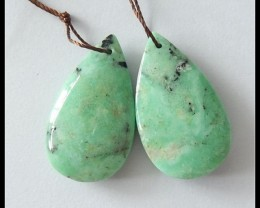 41Ct Natural Green Turquoise Teardrop Earring Beads